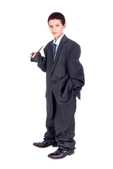 Child dressed with big suit