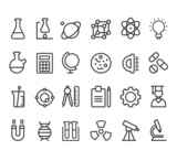 Trendy science icons on white. Vector elements