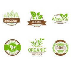 Round eco green stamp label