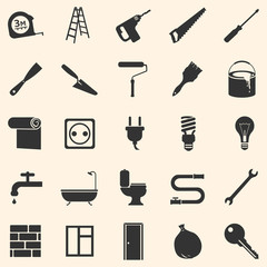 Vector Set of Home Repairing, Construction Icons