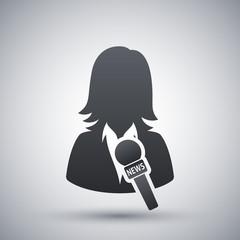 News reporter icon, vector
