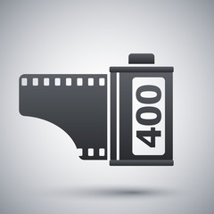 Camera film roll icon, vector