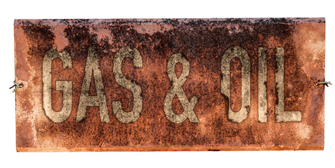 Grungy Old Gas And Oil Sign