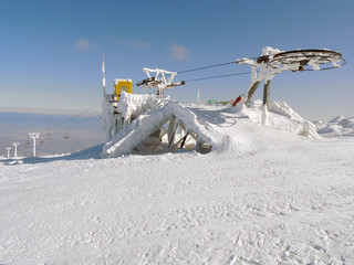 Stopped Ski Lift in Frost