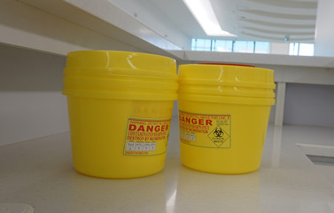 Container for hazardous waste in hospital