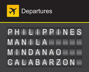 Philippines flip alphabet airport departures