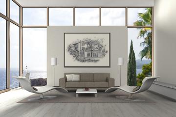 mediterranes modernes Wohnzimmer am Meer