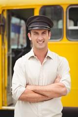 Smiling bus driver looking at camera