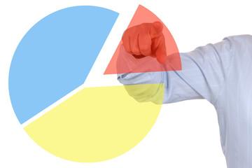 Businessman beim zeigen auf ein Statistik Business Tortendiagram