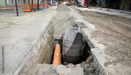 Hydro construction work, reconstruction of sewerage, night photo - 78492930