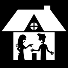 Man and woman arguing at home