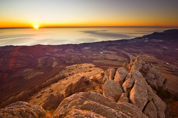 aerial view from mountains of magnificent sunrise above the sea