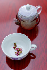 kettle and a cup of tea roses