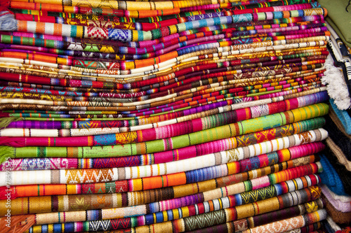 Typical colorful tapestries of the Andes © ecuadorquerido