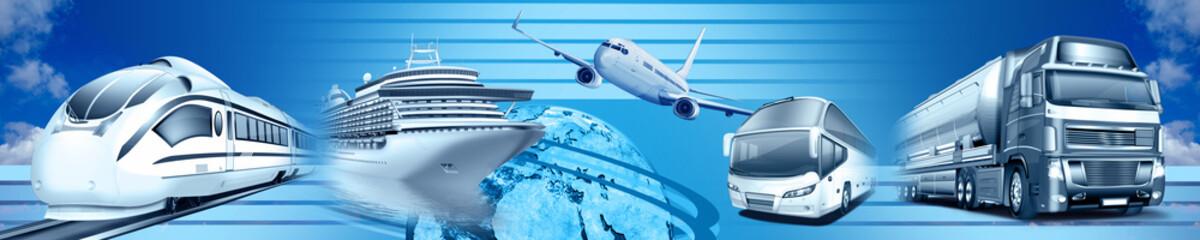 Logistik und Verkehr, Transportwesen, Spedition, Banner