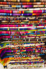 Typical colorful tapestries of the Andes