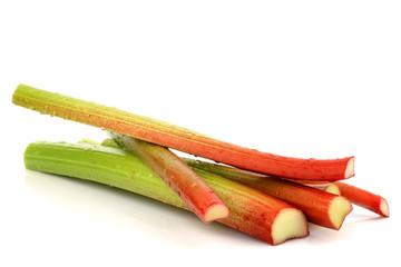 freshly  cut stems of rhubarb on a white background