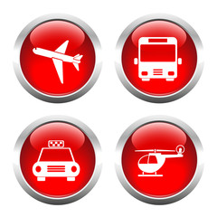 Set of colored buttons for web, airplane, helicopter, taxi, bus.