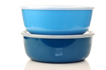 blue plastic containers for food storage on a white background