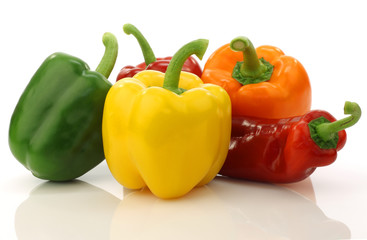 colorful mixed paprika's (capsicum) on a white background
