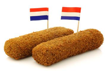 "Two Dutch snacks called ""kroket"" with Dutch flag"