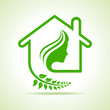 Eco home icon with women face stock vector