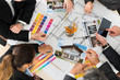 Businesspeople With Color Samples