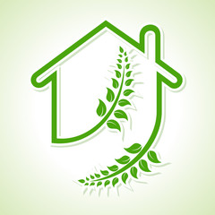 Eco home icon with leaves on white background stock vector