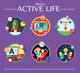 active life collection of vector illustration various topics