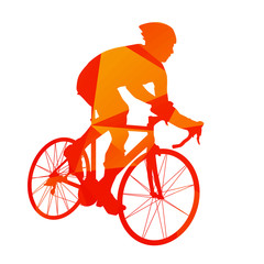 Abstract orange cyclist silhouette