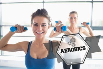 Aerobics against hexagon