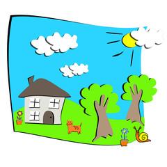 dessin d'enfant maison nature