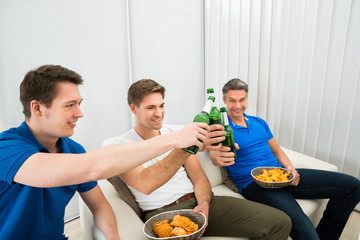 Three Male Friends Having Party
