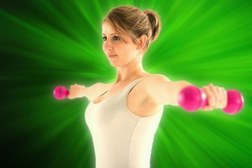 Composite image of woman lifting dumbbellls