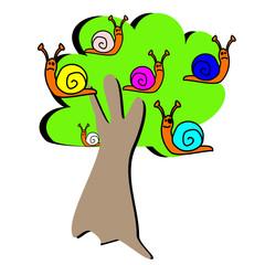 dessin d'enfant arbre à escargots