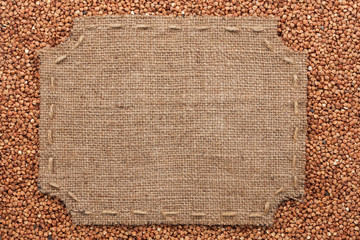 Figured frame with burlap and stitches with  place for your text