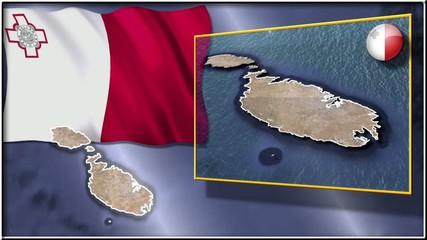 Malta flag and map animation