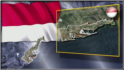 Monaco flag and map animation