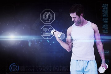 Composite image of fit young man exercising with dumbbells