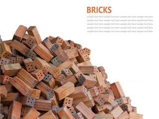 Red bricks material isolated on white background