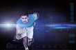 Composite image of portrait of a young sporty man running