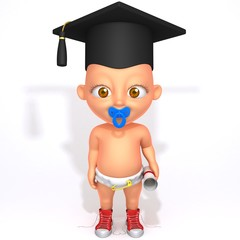 Baby Jake with Graduation Cap and Diploma