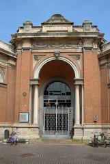 Italy, Ravenna, the antique covered market main door.