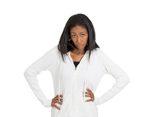 Outraged angry woman with bad attitude on white background