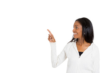 woman presenting a copy space pointing with finger