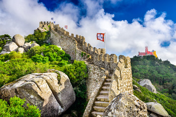 Moorish Castle Ruins in Sintra, Portugal