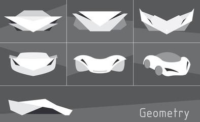 Set of sport car, geometric vector