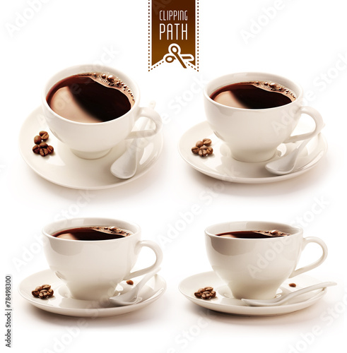Coffee cup set with clipping path