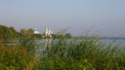 View of Spaso-Yakovlevsky Monastery from coast of lake of Nero