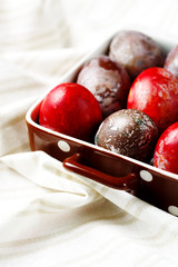 Easter eggs on textile draped background